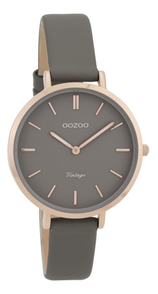 Oozoo Vintage Damenuhr C9816 rose anthrazit Lederband 34 mm