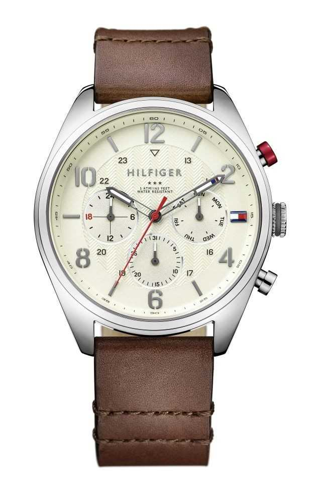 Tommy Hilfiger Sophisticated Sport Multifunktions Herrenuhr 1791208 - Lederband - 44 mm