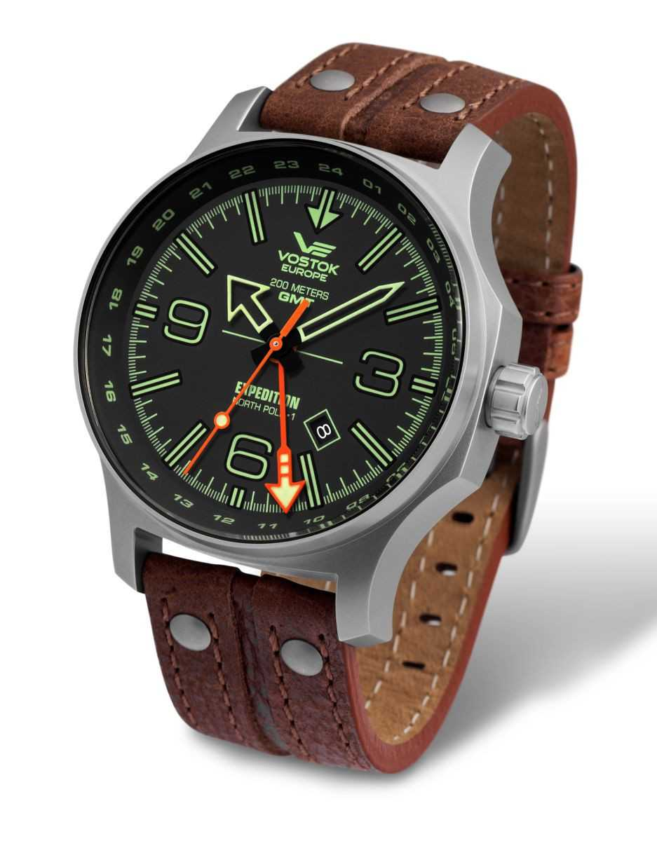 Vostok Europe Expedition Nordpol 1 Dual Time Herrenuhr 595A501-L - Lederband - 47 mm
