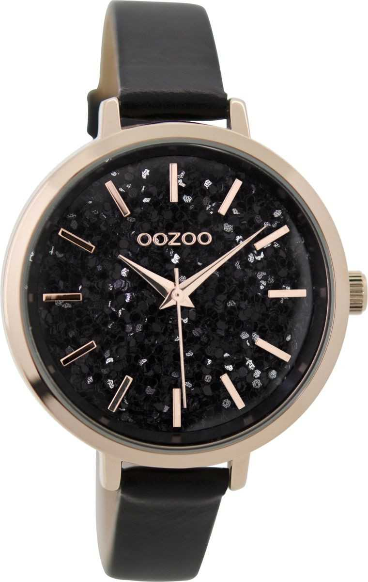 Oozoo Damenuhr C9224 - rose-schwarz - Lederband - 38 mm