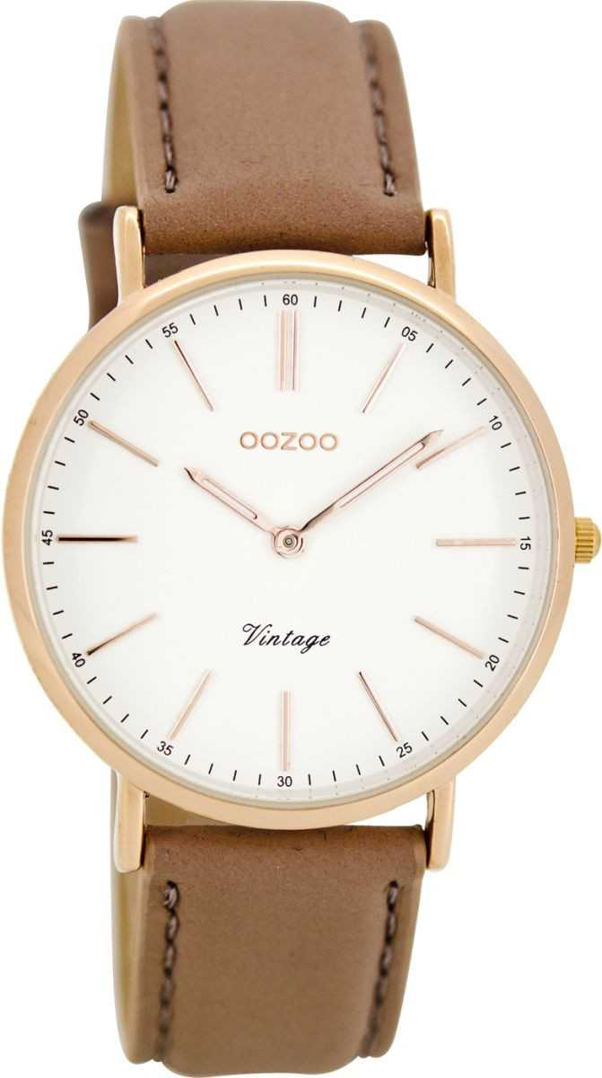 Oozoo Vintage Damenuhr C8140 - rosagrau/weiss/rose - Lederband - 36 mm