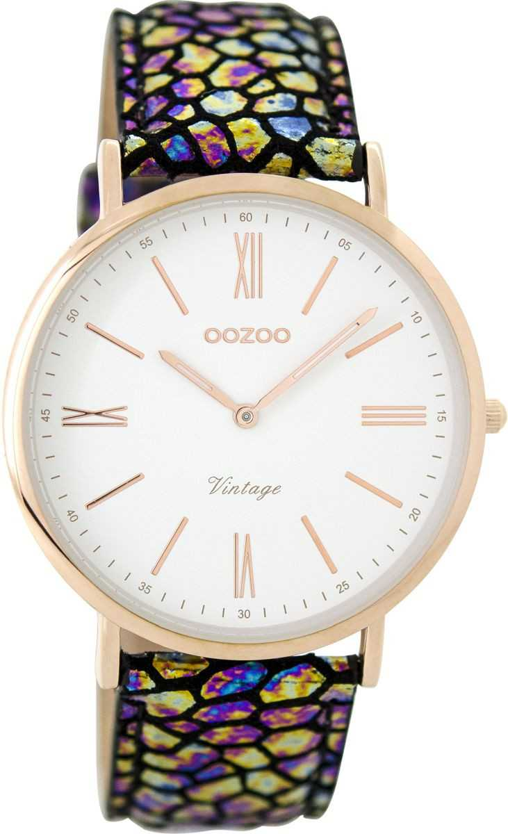 Oozoo Vintage Damenuhr C8942 rose-weiss-goldblacksnake Lederband 40 mm