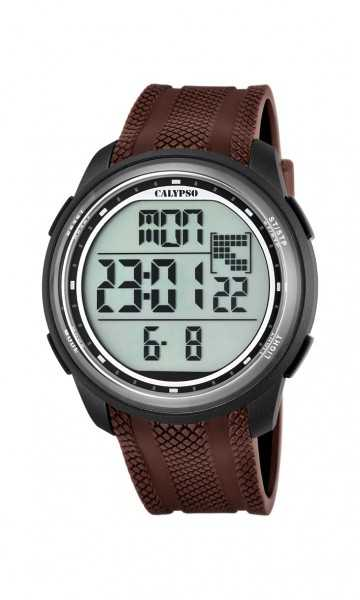 Calypso Herrenuhr Digital K5704-7 - braun/anthrazit - 45 mm - Kunststoffband