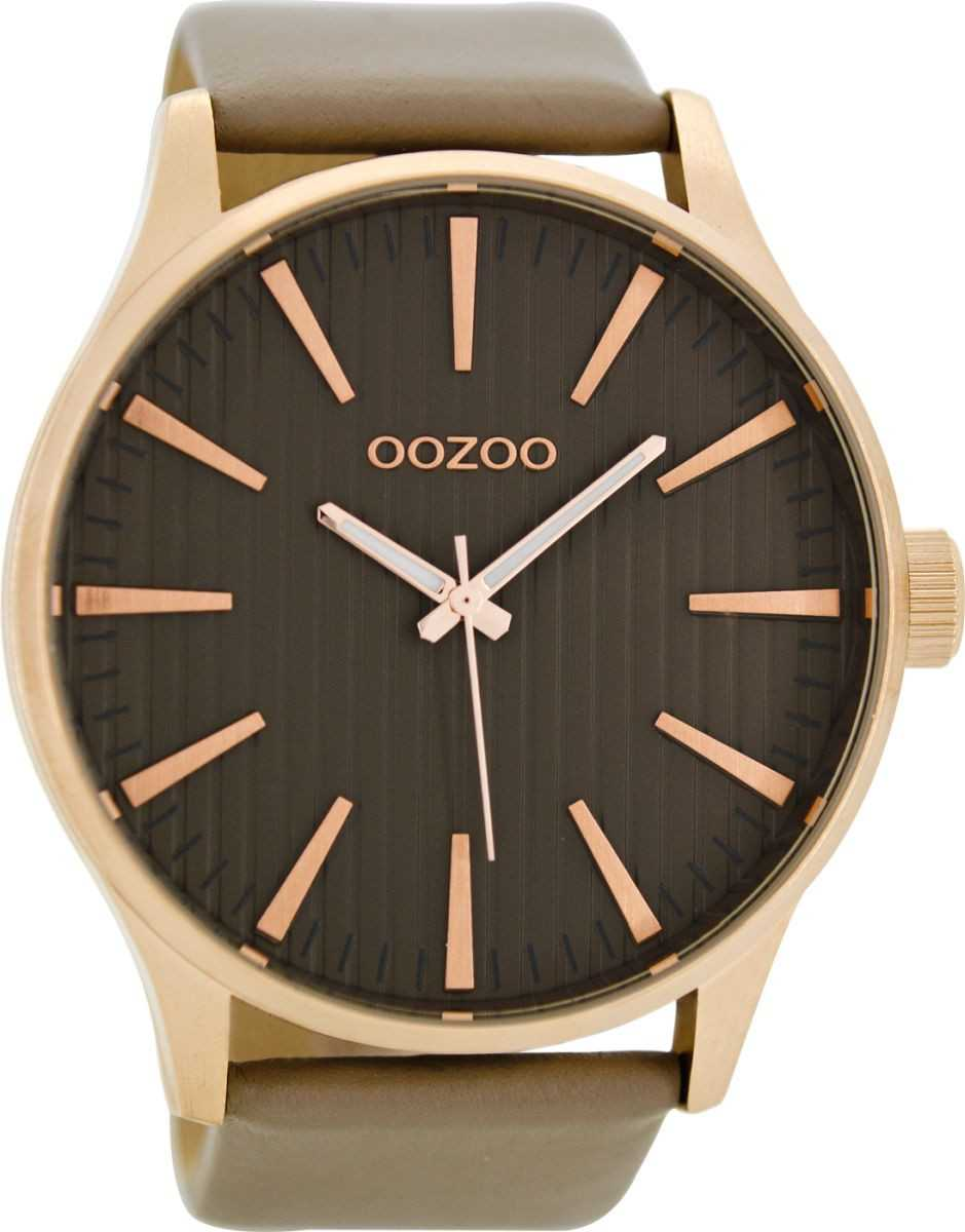 Oozoo XXL Herrenuhr C8562 - rose-taupe - Lederband - 50 mm