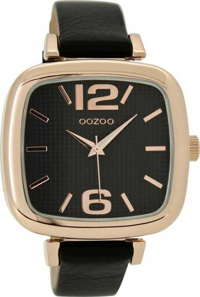Oozoo Damenuhr C9184 - rose-schwarz - Lederband - 42 x 40 mm