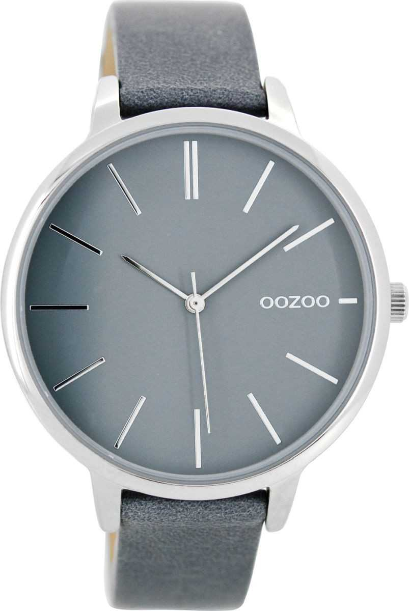 Oozoo Damenuhr C8673 - aquagrau-silberfarben - Lederband - 42 mm