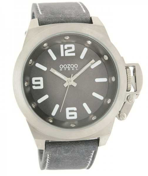 Oozoo Steel OS0131 XXL Herrenuhr grau/strass - 52 mm