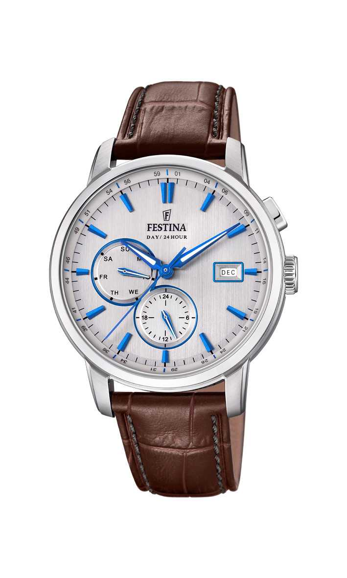 Festina Retro Multifunktions Herrenuhr F20280-2 - Lederband - 42 mm