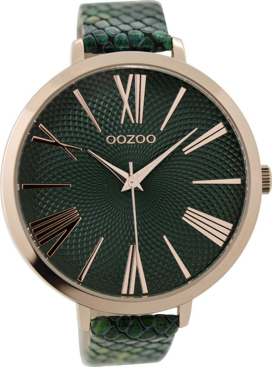 Oozoo XXL Damenuhr C9216 - rose-grün - Lederband - 48 mm