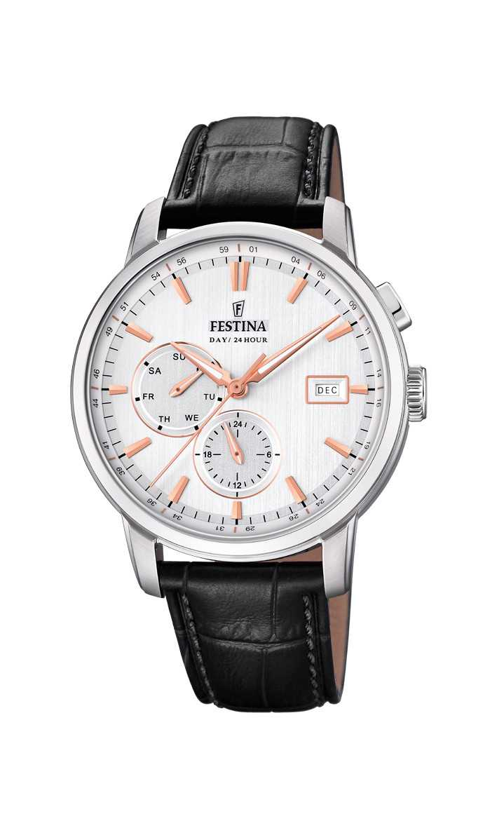 Festina Retro Multifunktions Herrenuhr F20280-1 - Lederband - 42 mm
