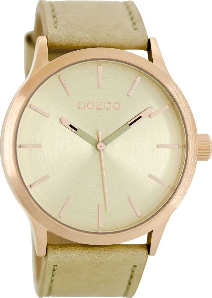 Oozoo Herrenuhr C8525 - rose/sand/goldfarben - Lederband - 45 mm