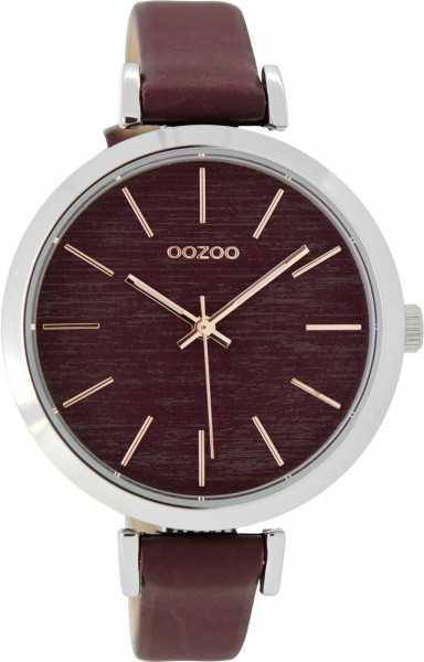 Oozoo Damenuhr C9137 - silberfarben-bordeaux - Lederband - 40 mm