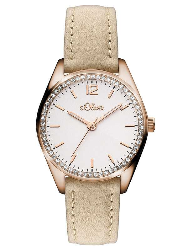 s.Oliver Damenuhr SO-3321-LQ rose/beige - Lederband - 30 mm