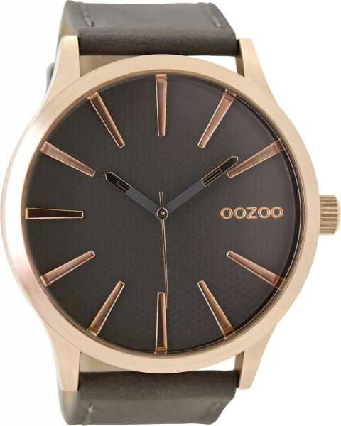 Oozoo XXL Herrenuhr C9042 - rose-elephantgrey - Lederband - 50 mm