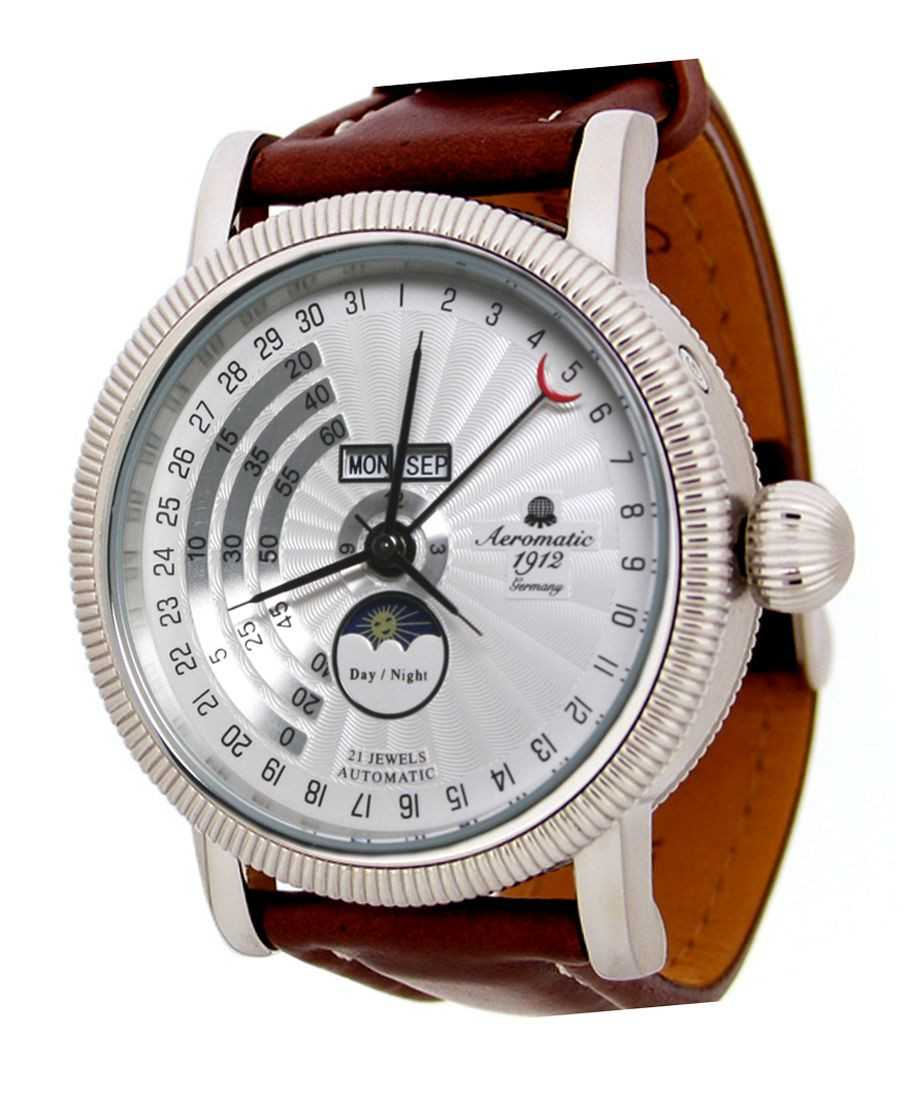 Aeromatic Triphasen Regulateur Herrenuhr A1281B Lederband 43,5 mm