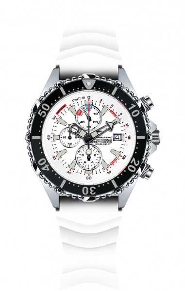 Chris Benz DEPTHMETER Taucher Chronograph CB-C300-W-KBW - Kautschukband - 44 mm