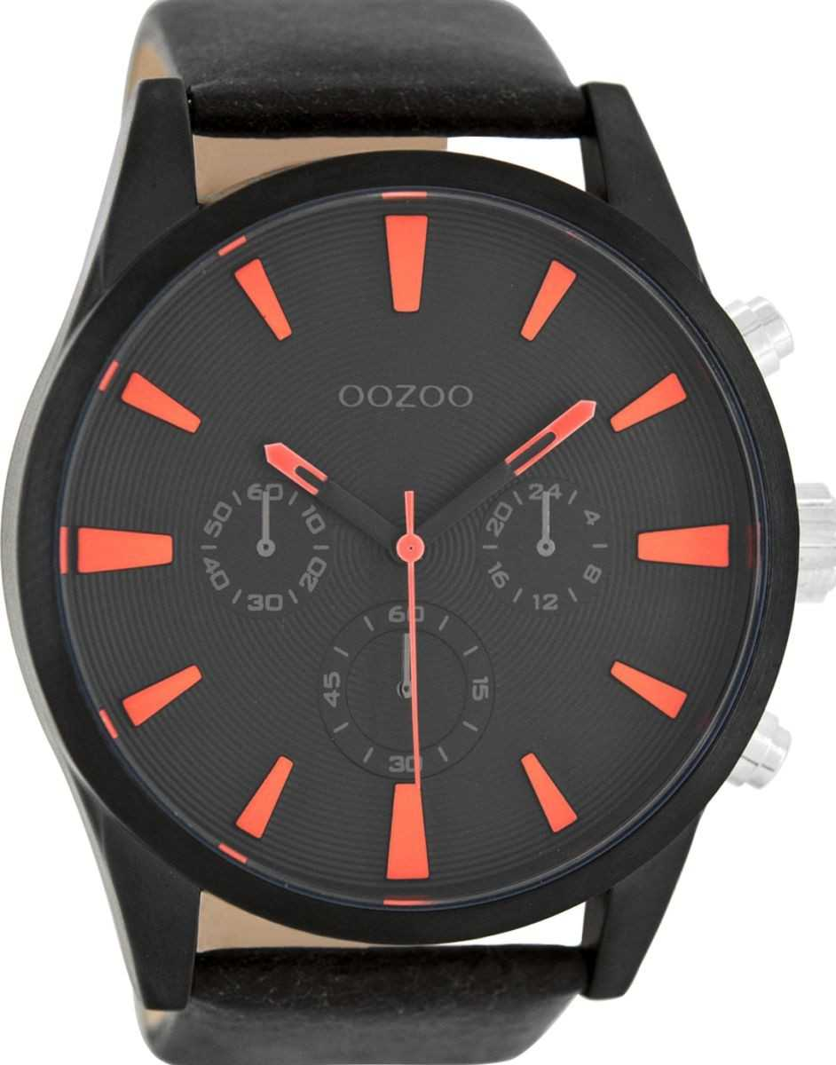 Oozoo XXL Herrenuhr C8202 - schwarz/braun/orange - Lederband - 50 mm