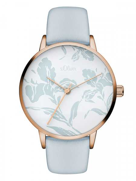 s.Oliver Damenuhr SO-3469-LQ rose/pastellblau - Textilband - 36 mm