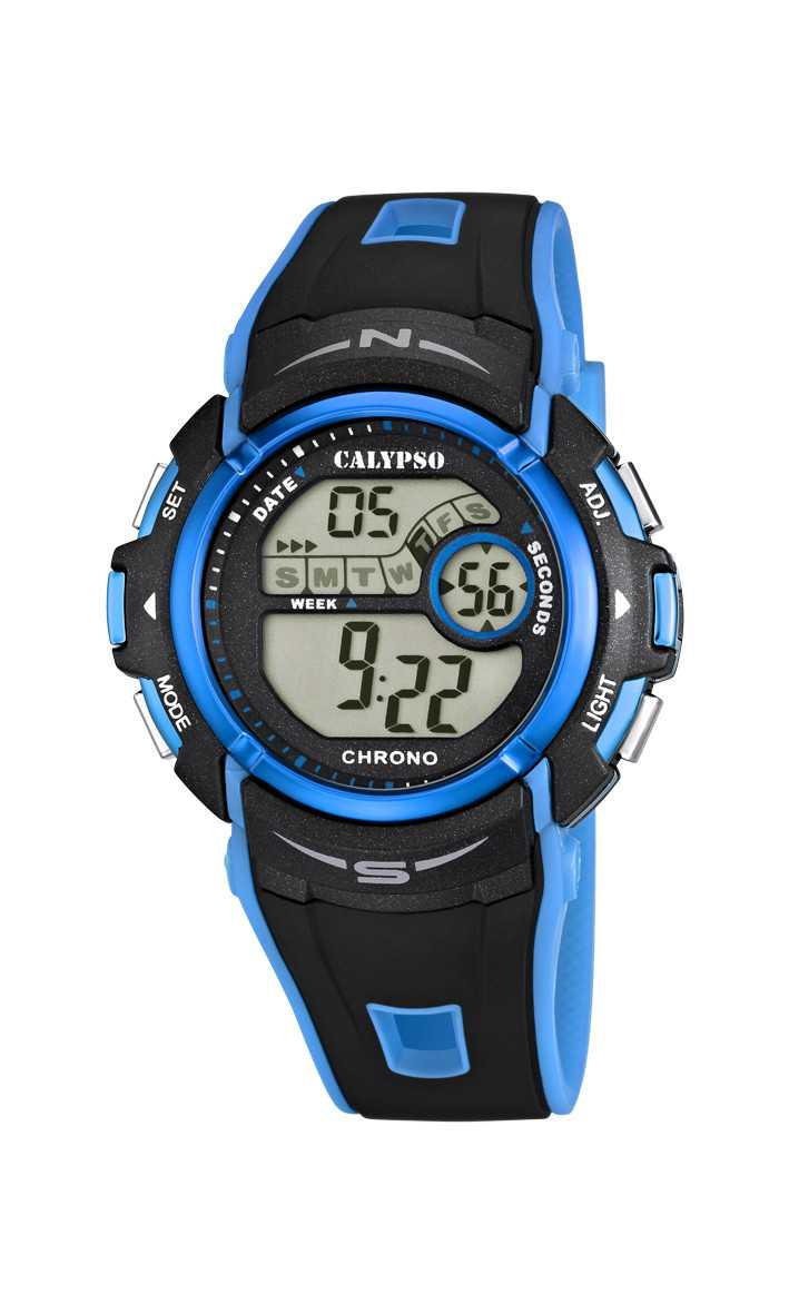 Calypso Herrenuhr Digital K5610-6 - schwarz-blau - PU-Band - 43 mm