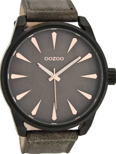Oozoo XXL Herrenuhr C8228 - dunkelbraun/rose - Lederband - 48 mm