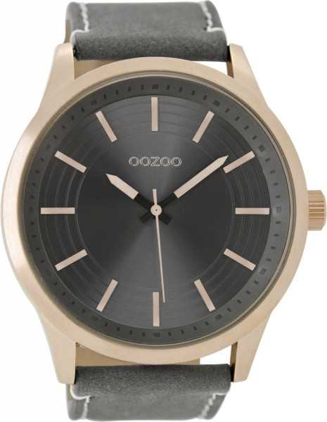 Oozoo XXL Herrenuhr C9078 - rose-elephantgrey - Lederband - 50 mm
