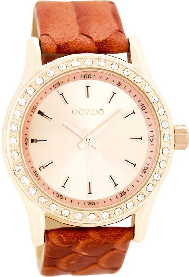 Oozoo Damenuhr C8007 - korallrot/rose - 42 mm - Lederband