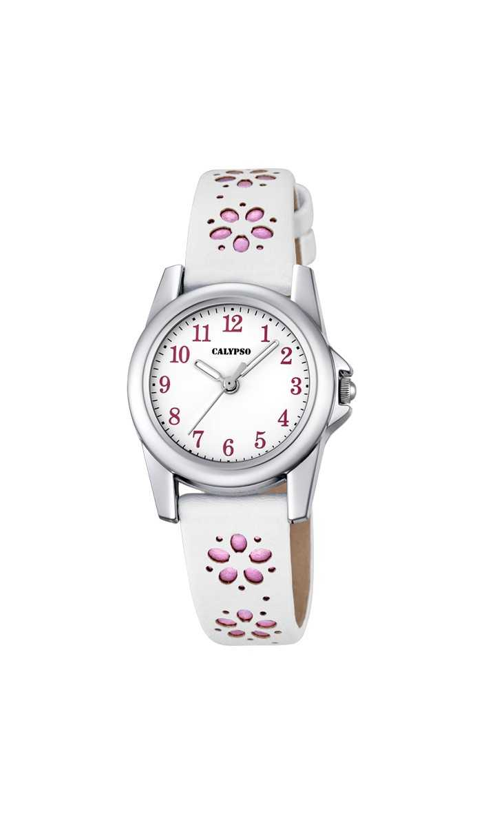Calypso Kinderuhr K5712-2 - weiss/pink - Lederband - 26 mm