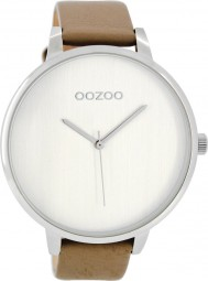 Oozoo Damenuhr C8063 - weiss/taupe - 48 mm - Lederband