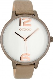 Oozoo Damenuhr C8069 - taupe/weiss/rose - 42 mm - Lederband