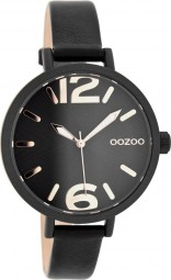 Oozoo Damenuhr C8074 - rose/schwarz - 38 mm - Lederband