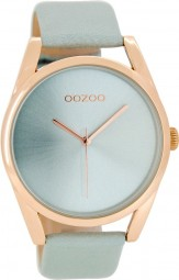 Oozoo Damenuhr C8078 - rose/blaugrau - 42 mm - Lederband