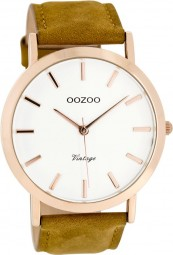Oozoo Slim Vintage Herrenuhr C8118 - braun/weiss/rose - 45 mm - Lederband