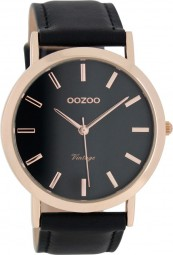 Oozoo Slim Vintage Herrenuhr C8119 - schwarz/rose - 45 mm - Lederband