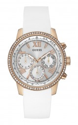 Guess Sunrise Damenuhr W0616L1 - Lederband - rose/weiss - 40 mm