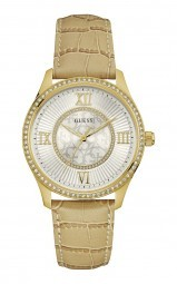 Guess Broadway Damenuhr W0768L2 - Lederband - beige/goldfarben - 39 mm
