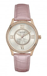 Guess Broadway Damenuhr W0768L3 - Lederband - rosa/rose - 39 mm
