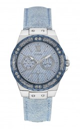 Guess Limelight Damenuhr W0775L1 - Lederband - hellblau/silberfarben - 39 mm