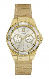Guess Limelight Damenuhr W0775L2 - Lederband - beige/vergoldet - 39 mm