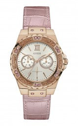 Guess Limelight Damenuhr W0775L3 - Lederband - rosa/rose - 39 mm